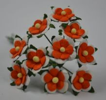 ORANGE WHITE 2-LAYERED sweetheart blossom Mulbery Paper Flowers
